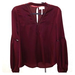 Romantic dark red top by Laundry by Shelli Segal